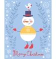 Cute snowman and bird christmas card vector