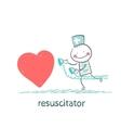 Resuscitator hurry to the heart is sick vector