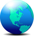 North and south america map of the world globe vector