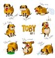 Cute cartoon dog toby set 1 vector