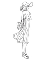 Elegant slender girl in hat and dress vector