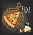 Pizza seafood slice vector