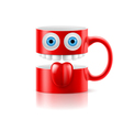 Red mug of two parts with two eyes teeth and vector