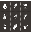 Black gardening icons set vector