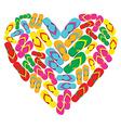 Flip flops in love heart shape vector