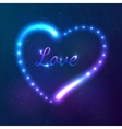 Shining cosmic neon heart with sign love vector