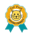 Cat food emblem or badge vector