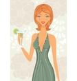 Beautiful elegant woman with cocktail vector