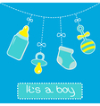 Hanging bottle pacifier rattle and sock baby boy vector