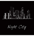 Night city skyline sketch vector