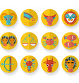 Flat design modern orange zodiac sign set isolated vector
