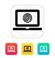 Laptop fingerprint icon vector