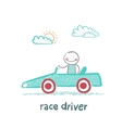 Driver rides in the car vector