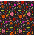 Seamless pattern with ladybirds and leaves on vector