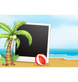 Frame with beach background vector