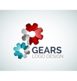 Gear logo design made of color pieces vector