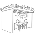 Sukkah for sukkot with table coloring page vector