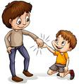 A man helping a young boy vector