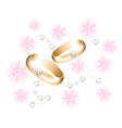 golden wedding rings with diamonds vector