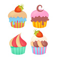Set of tasty colorful muffins vector