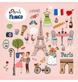 Paris france landmarks and icons vector