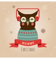 Owl merry christmas card vector