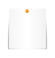 White paper sheet for memo with pin isolated on vector