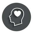 Head with heart sign icon male human head vector