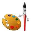 Cartoon paintbrush character with art palette vector