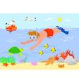Cartoon boy underwater vector