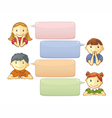 Chat template with cute personages vector
