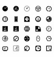 Black clocks icon set vector