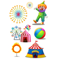 A clown with the different things in a carnival vector