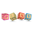 Word play written with alphabet blocks vector