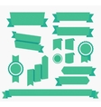Green ribbons set elements isolated vector