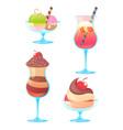Delicious realistic ice-cream set vector