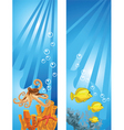 Yellow fish and octopus background vector