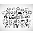 Set of hand drawn social doodles vector