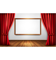 Background with red velvet curtain and a wooden vector