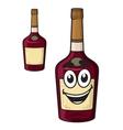 Cartoon smiling alcohol bottle vector