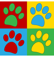 Pop art paw icons vector