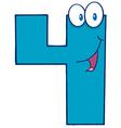 Number four cartoon mascot character vector