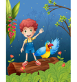 A boy with a bird at the forest vector