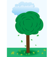 A tree with falling leaves vector