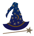 Wizard hat and wand vector