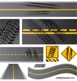 Asphalt road with tire tracks vector