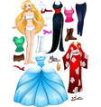 Blond girl princess dress up vector