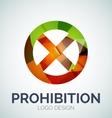 Prohibition symbol logo made of color pieces vector