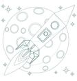 Rocket in sky with moon background loop vector