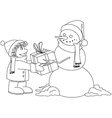 Christmas snowman gives present to boy coloring vector
